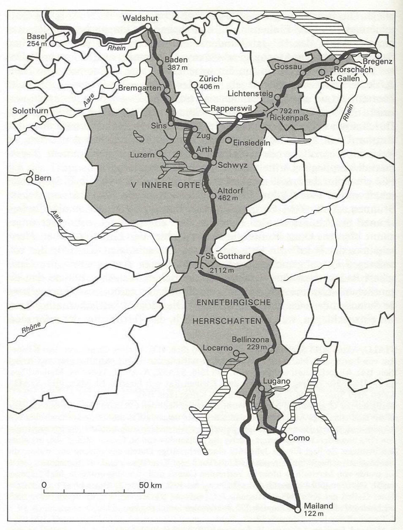 Karte von Rudolf Bolzern: Der Camino de Suizo