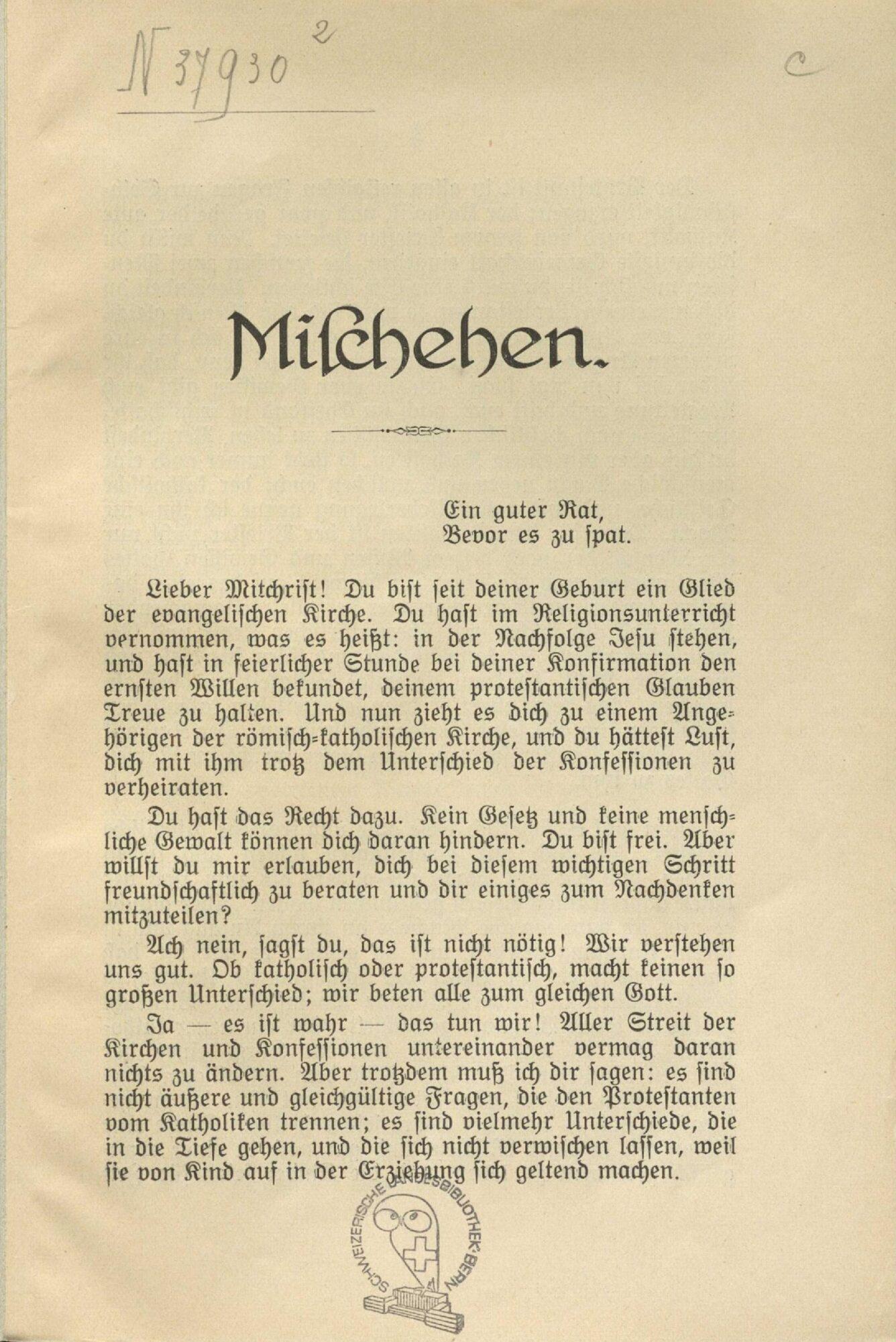 Erste Seite eines Flugblattes gegen die Mischehe. Schweizerischer protestantischer Volksbund: Mischehen, Zürich 1934.